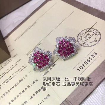 CREY3DS 2018 New Bvlgari Red gemstone colourful brick and stone high-end fashion jewelry S925 Sterling Silver Earring cartilage hoop   stud drop