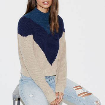 Kendall and Kylie Chevron Mock Neck Pullover Sweater at PacSun.com