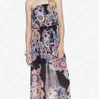 PAISLEY PRINT STRAPLESS MAXI DRESS from EXPRESS