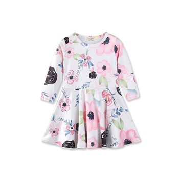 Flower Long Sleeve Baby Kids Dresses 2018 Spring New Style Fashion Girls Dress 1 2 3 4 Year Toddler Children Princess Clothing