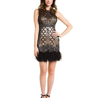 Some of you have to get in on this: Sue Wong Black & Nude Embellished Feather Dress