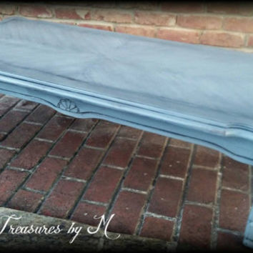 shabby chic coffee table! Gray and black coffee table, distressed coffee table, rustic coffee table, shabby chic table, painted coffee table