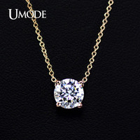 UMODE Rose Gold Color with 4 Prongs 7mm CZ stone Pendant Necklace JN0116