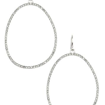 Clear Metallic Stone Oval Metal Ring Earring