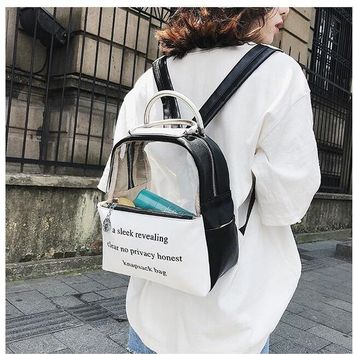 1 piece patchwork PU + Transparent pvc Window Lolita Student letter writing Schoolbag Backpack Candy Color Lovely Bag Sweet