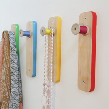 SET of 4 - Colourful wood coat racks, wall hanging fixtures, wall hooks, made with thread spools and maple wood base. Handcarfted and unique