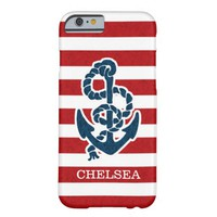 Nautical Anchor Stripe Pattern and Name Barely There iPhone 6 Case