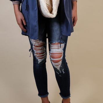 ATC Distressed Jeans, Dark Blue