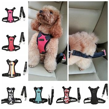 TAILUP High Quality Goods For Pets Adjustable Car Vehicle Dog Seat Safety Belt Harness Dog Collar And Leash