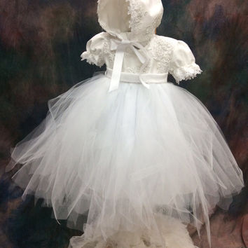 Paloma//Christening, lace and USA tulle tutu dress and bonnet # Ivory baptism tutu dress # Flower girl baby dress by Elena