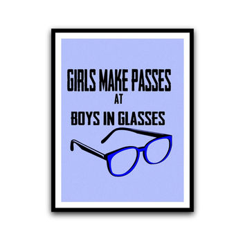 Funny Typography Blue Home and Dorm Wall Hanging Decorative Poster Nerdy Glasses