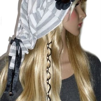 Womens Grey and White Slouchy Beanie Hat Cotton Slouch Beret