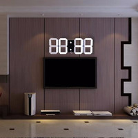 Hot Sale Modern Design 3D Digital Led Wall Clock Big Creative Vintage Watch Home Decoration Decor Alarm Temperature