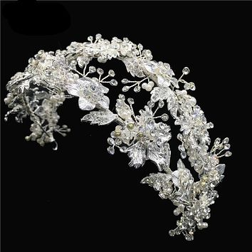 Romantic Silver Crystal Bride Hairband