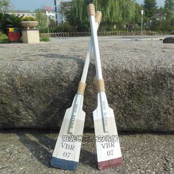Two Boat Oars Mediterranean Wood Boat Paddle, Nautical Wall Decoration, Shabby Coastal Cottage Decor.
