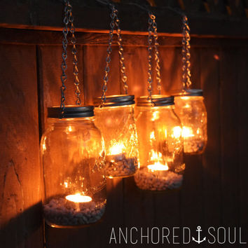 Mason Jar Lanterns Hanging Tea Light Luminaries - Set of 4 - Silver Chain - Regular Mouth Mason Jar Style