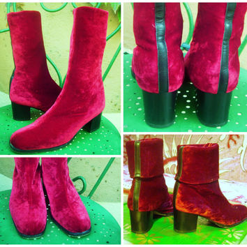 VINTAGE SALE Raspberry GoGo Boots Italian Made Velvet Red Velour Platform Disco Christmas 1990s 70s Style Adjustable Calf Length or Ankle