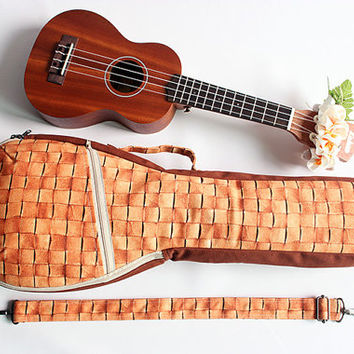 Soprano long neck ukulele case & ribbon lei(Ready to ship)/ light brown / gig bag / soft case / hawaiian fabric / instrument case