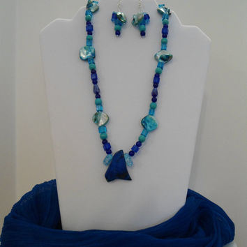 Vibrant Blue Necklace & Earrings Set:Jasper Necklace, Sapphire Necklace, Mother of Pearl Necklace, Turquoise Necklace