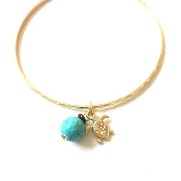 Turtle Charm Bracelet - Alex and Ani Inspired - Turtle Charm and Boho Bead - Gold Jewelry - Stacking Bangles