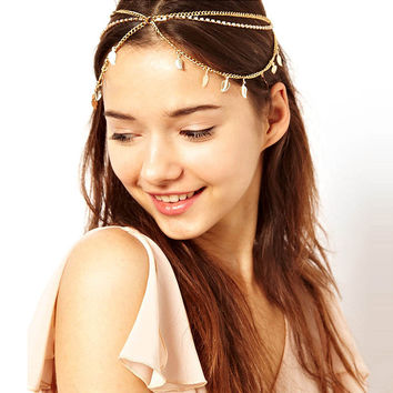 Diamond Leaf Pendant Chain Multilayer Tassel Headdress