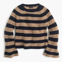 Ruffle-sleeve crewneck in striped everyday cashmere