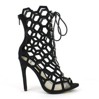 Fahrenheit Lenka-06 Laser-cut High Heel Bootie in Black @ ippolitan.com