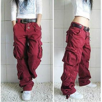Hot, khaki cargo pants women Dance hiphop trousers female hip-hop pants overalls multi-pocket trousers multi-pocket pants female