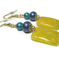 Drop Dangle Earrings Blue and Yellow Sparkle Glitter Shimmer Gold Plated Hypoallergenic Spring Summer Fashion Jewelry