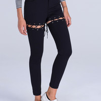 Black Lace Up Detail Skinny Pants