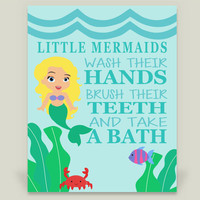 Bathroom Mermaid Art Print by KBlantonGraphics on BoomBoomPrints