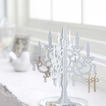 White Metal Chandelier Stand Tree for Jewelry and Accessories / Earring Holder Display, Modern Jewelry Organizer