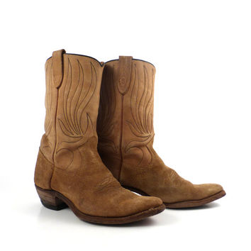 Brown Cowboy Boots Vintage 1960s Rough out Suede and Leather Women's 8