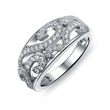 925 Sterling Silver Dome Filigree CZ Pave Scroll Swirl Band Ring