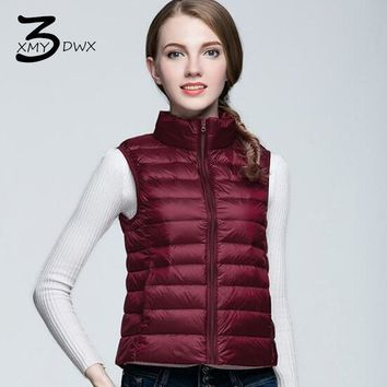 XMY3DWX Fashion women Autumn and winter Super light thin 90% white duck Down down vest/women Stand collar slim Fit Down jacket