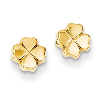 5mm Four Leaf Clover Post Earring in 14k Yellow Gold