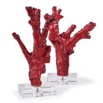 Regina Andrew Pair of Red coral branches on crystal - 2-6807