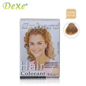 Golden Blonde Dexe Brand 2pcs/set Hair Colorant Cream Hair Dye + dioxygen Milk DIY Hair Coloring Cover Gray Hair Temporary