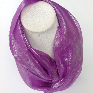 Holidays Gifts, Handmade dress scarf, Chiffon silk scarf, Formal outfit, Colorful circle neckwear, Purple scarf, Gift for Teacher