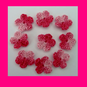 9 small pink crochet flowers, appliques and  embellishments