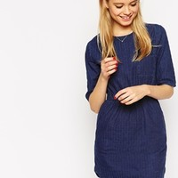 ASOS Waisted Denim T-Shirt Dress in Textured Fabric