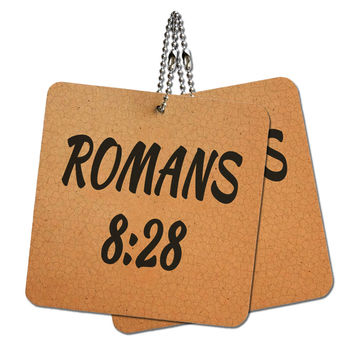 """Bible Verse Romans 8-28 Wood MDF 4"""" x 4"""" Mini Signs Gift Tags"""