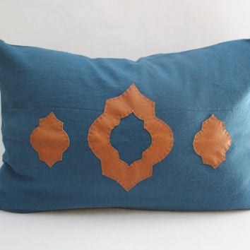 Moroccan Blue Pillow Cover: Medium Blue Modern Pillow Cover with Caramel Handcrafted Faux Leather Moroccan-Inspired Appliques-- 12 x 18 inch