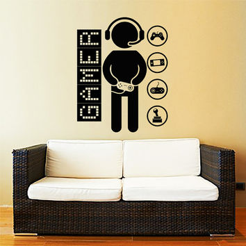 Wall Decal Vinyl Sticker Decals Art Home Decor Design Murals Game Controllers Gamer Gaming Video Game Boy Room Nursery Bedroom Dorm AN757