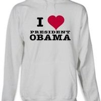 "Barack Obama ""I Love President Obama"" Hoodie (Grey) (Mens X-Large)"