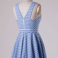 Blue Striped Fit and Flare Dress