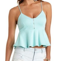 Zip-Up Flared Peplum Tank Top by Charlotte Russe - Blue Light