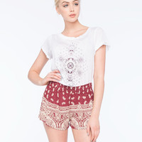Angie Smocked Waist Border Print Womens Shorts Red Combo  In Sizes