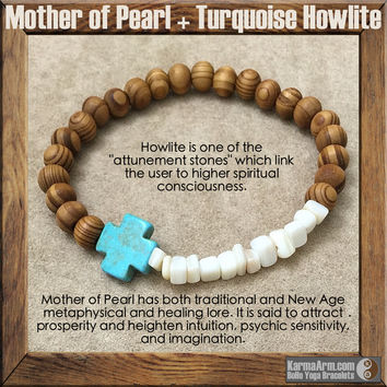 GYPSY TRAVELLER: Mother of Pearl + Turquoise Howlite + Bamboo Yoga Mala Bead Bracelet