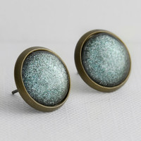 Stormy Days Post Earrings in Antique Bronze - Grey Shimmer Stud Earrings